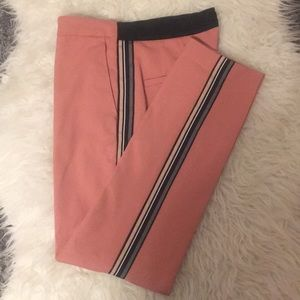 Pink Cigarette Pants with Racing Stripe